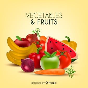 Fundo realista de frutas e legumes