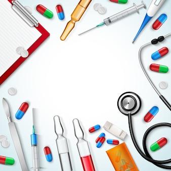 Fundo realista de instrumentos médicos