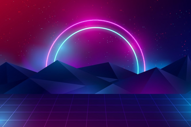 Fundo realista de luzes de néon com montanhas