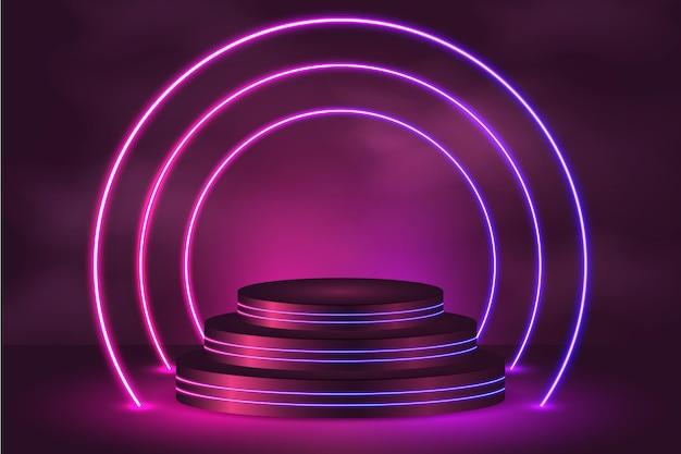 Fundo realista de luzes de néon com pódio