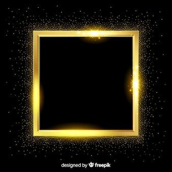 Fundo realista de moldura quadrada dourada
