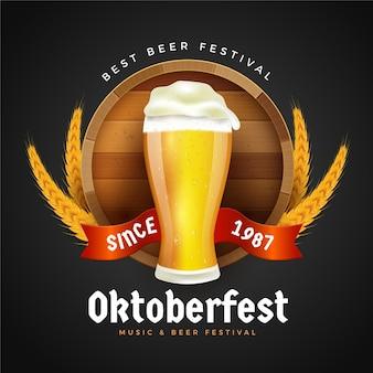 Fundo realista de oktoberfest com cerveja