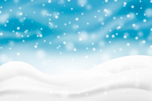 Fundo realista de queda de neve com colinas