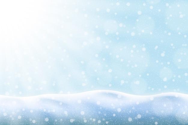 Fundo realista de queda de neve