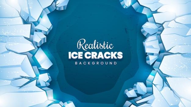 Fundo realista de rachaduras de gelo
