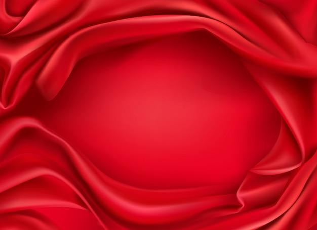 Fundo realista de tecido de seda vermelho ondulado