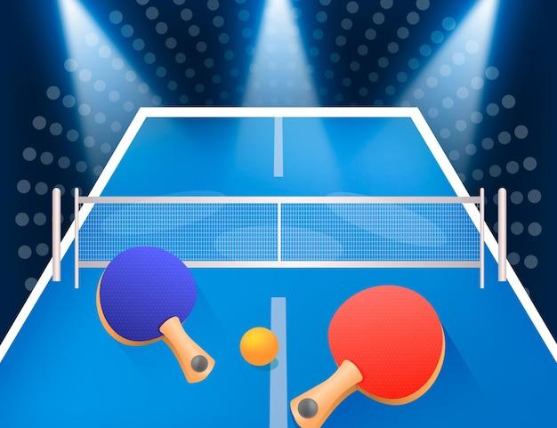Fundo realista de tênis de mesa com pás e bola