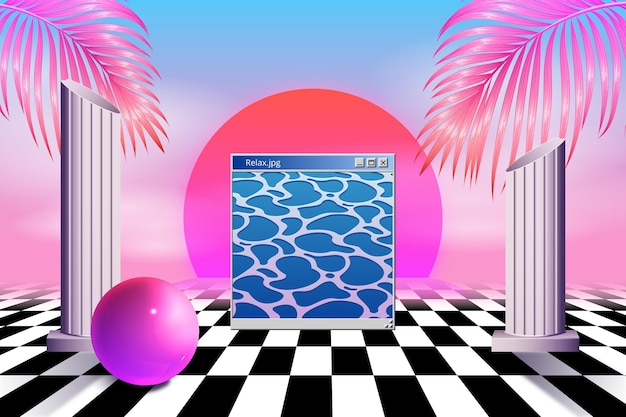 Fundo realista de vaporwave vintage