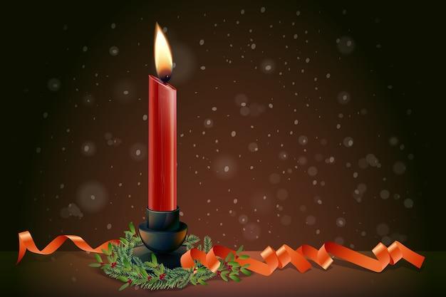 Fundo realista de vela de natal