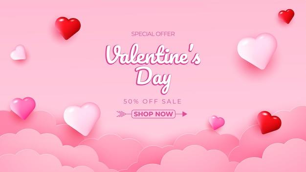 Fundo realista de venda de dia dos namorados