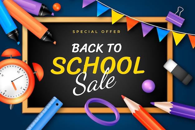 Fundo realista de vendas de volta às aulas