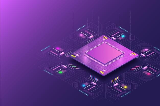 Fundo realista do processador de microchip