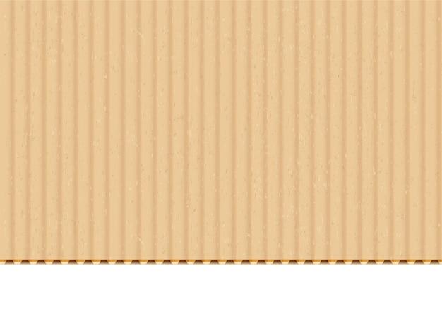 Fundo realista do vetor da folha de papelão ondulado. papel artesanal com borda cortada em fundo branco. papelão, textura da superfície em branco do material da caixa. ilustração de cartolina bege