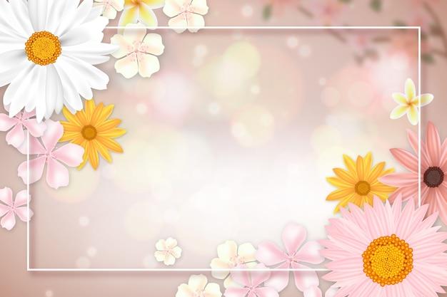 Fundo realista primavera com espaço de cópia e moldura