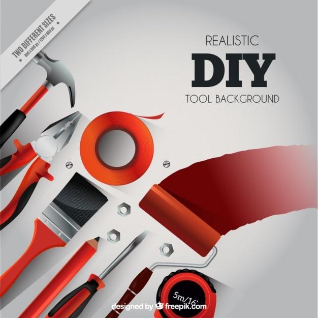 Fundo realista sobre ferramentas de carpintaria