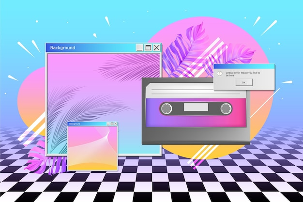Fundo realista vintage vaporwave