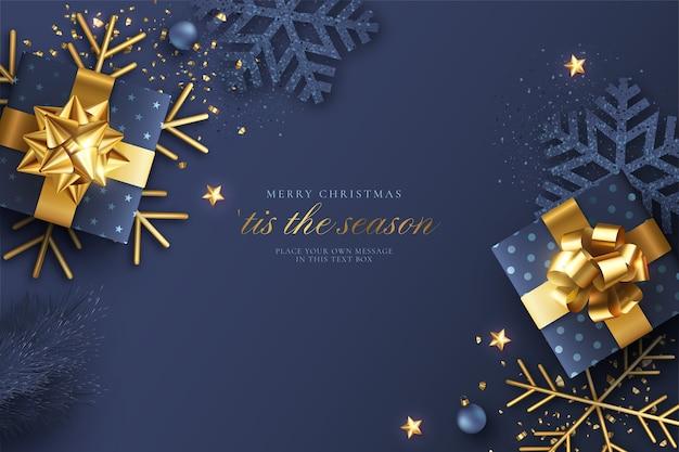 Fundo realístico de natal azul e dourado