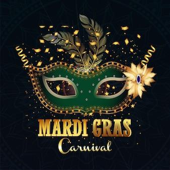 Fundo realístico do carnaval com texto dourado