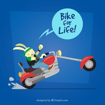 Fundo rebelde de coelho com moto