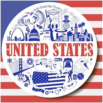 Fundo redondo dos estados unidos. seticons e símbolos