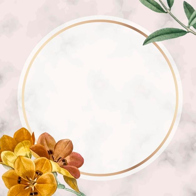 Fundo redondo dourado com moldura floral