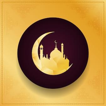 Fundo religioso dourado de eid mubarak