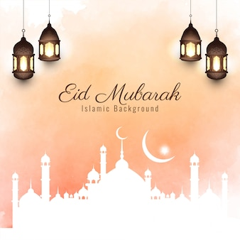 Fundo religioso lindo brilhante eid mubarak