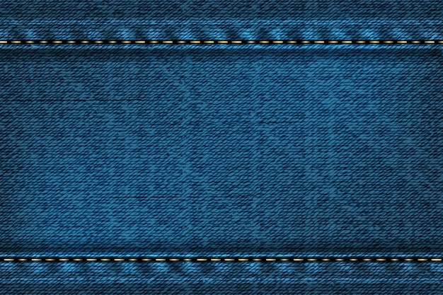 Fundo retangular jeans com costura. ilustração de textura azul.