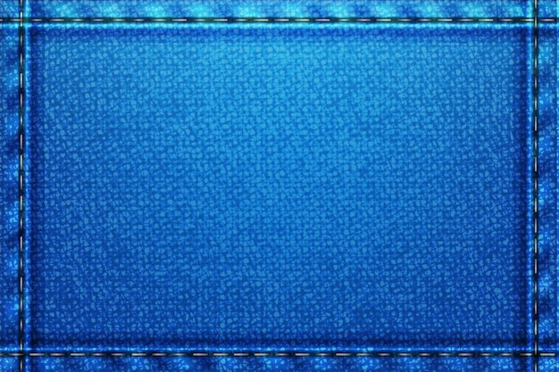 Fundo retangular jeans. textura áspera azul com fios.