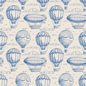 Fundo retrô bonito sem costura com balões e dirigíveis voando para o céu nublado