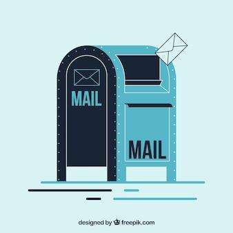 Fundo retro caixa de correio no design plano