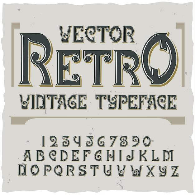 Fundo retrô com rótulo de texto ornamentado editável com ilustração de letras e dígitos de fonte