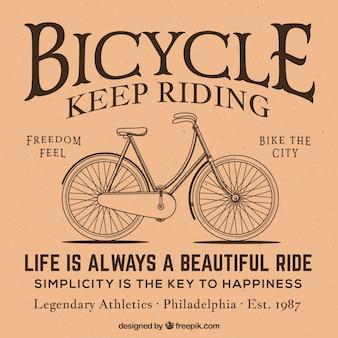 Fundo retro da bicicleta do esboço com mensagem
