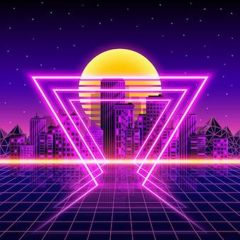 Fundo retrô da cidade de néon. estilo neon dos anos 80. ilustração vetorial