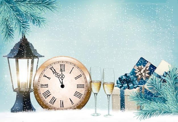 Fundo retrô de férias com taças de champanhe e relógio. feliz ano novo.