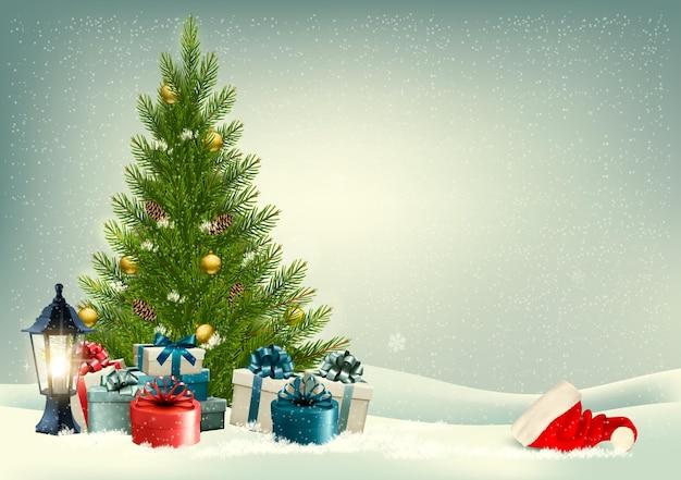 Fundo retrô de férias com uma árvore de natal e presentes
