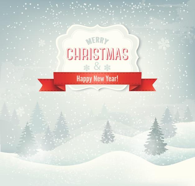 Fundo retrô de férias natalinas com paisagem de inverno
