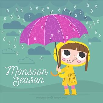 Fundo retro de menina com capa de chuva e guarda-chuva