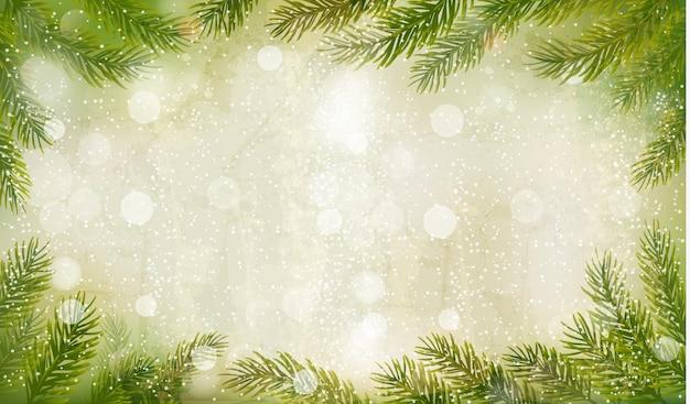 Fundo retrô de natal com galhos de árvores de natal.