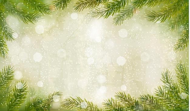 Fundo retro de natal com galhos de árvores de natal