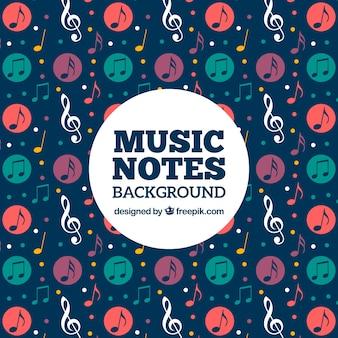 Fundo retro de notas musicais