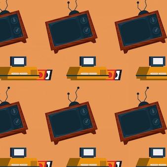 Fundo retro do mosaico da televisão da arcada do videogame