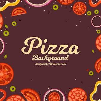 Fundo retro dos ingredientes da pizza
