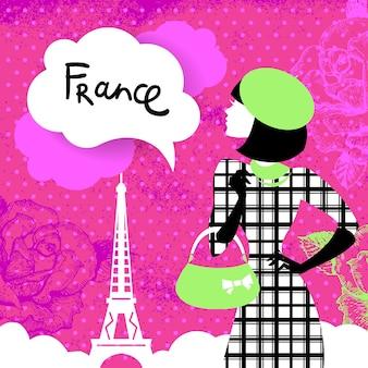 Fundo retro elegante com silhueta de mulher de compras na frança. design elegante vintage com flores desenhadas à mão e o símbolo de paris - torre eiffel