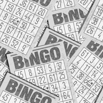 Fundo retrô sem costura bingo com cartões