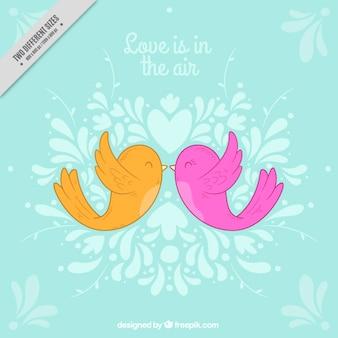 Fundo romântico azul com pássaros coloridos