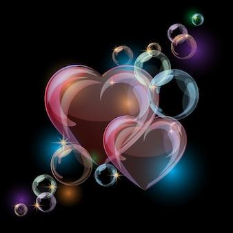 Fundo romântico com formas de corações coloridos bolha no preto