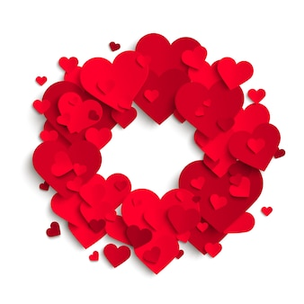 Fundo romântico, corações de papel vermelho