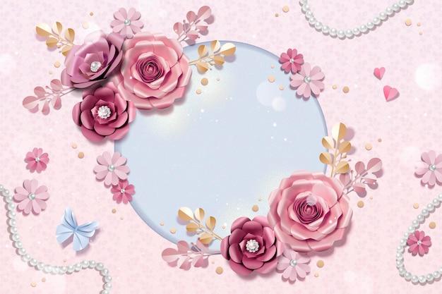 Fundo romântico de flores de papel