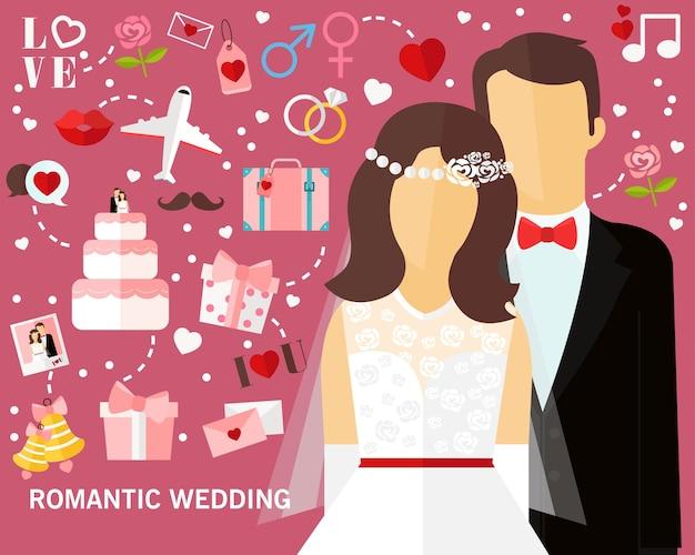 Fundo romântico do conceito do casamento. ícones planas.